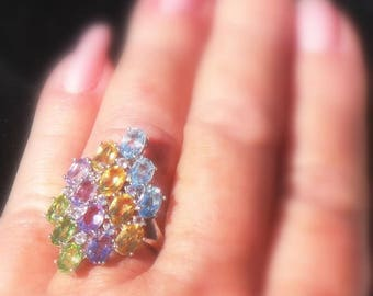SALE  Multicolor Natural Amethyst Peridot Citrine & Topaz Sterling Ring 9