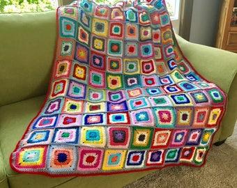New Colorful Rainbow Handmade Crochet Crocheted Granny Square Afghan Throw Blanket