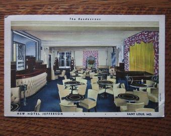 Vintage Linen Postcard, 1940's, The Rendezvous Cocktail Lounge, New Hotel Jefferson,St. Louis,Retro Vacations,Tourism,Souvenir,Kitsch,Travel