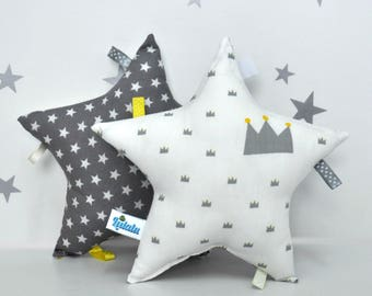 Star Pillow, Plush Star, Star Nursery, Pillow Star Baby, Baby Tag Toy, Crown Pillow, Stuffed Toy, Baby Boy Gift, Star Baby Toy White, Gray