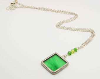 Green Square Pendant, Green Glass Necklace, Green Square Necklace with Swarovski Crystals, Sterling Silver Chain, Pendant on Chain,