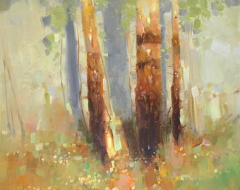 Birches, Original oil painting, Handmade artwork, large size painting, one of a kind