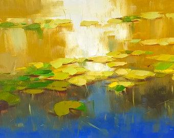 Waterlilies Garden Original oil Painting on Canvas Handmade artwork One of a kind
