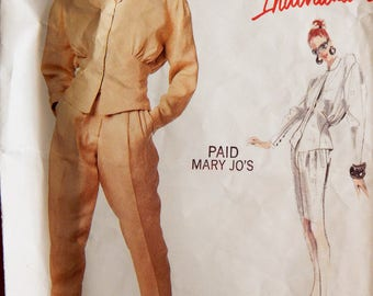 Pants, skirt and top pattern with interesting details designed by Montana Vogue Individualist 2027 sewing pattern Size 8