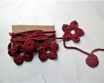 Christmas garland, crochet garland, christmas ornament, holiday decor red garland