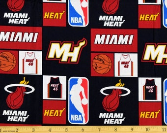 """Pre-cut 1.5 Yard Pieces 54""""x 44"""" Miami Heat Fabric NBA Basketball Fabric By Camelot 100% Cotton"""