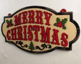 Christmas Decor Christmas Decoration Holiday Decor Farmhouse Christmas Merry Christmas Sign Wood Christmas Sign Merry Christmas Decorating