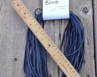 Dark blue leather lace , Dark blue leather cord , Soft leather lace