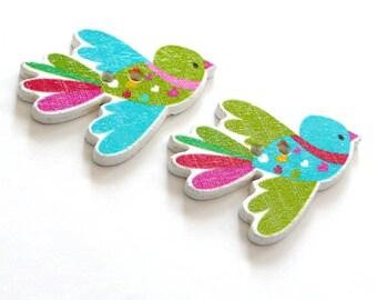 X 6 wood bird wing 35X27mm green buttons