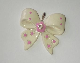 Kawaii white dot bow 1 X pink