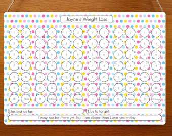 Coloured Dots Weight Loss Dry Wipe Whiteboard Chart