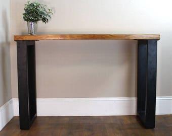 Green Lucite Stripe & Teak Wood Table Modern Black Legs Hand Made Furniture