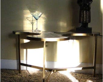 Tripod Three Leave Puzzle Danish Modern End Side Table with BLACK Marble Top