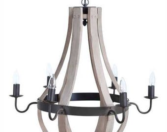 Antique Style Round Aged Wood and Metal Hanging Chandelier 6 Arms Old Looking