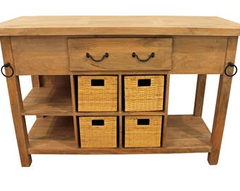 French Country Parque-Top Farm Style Mango Wood Kitchen Island/Bar w/ Drawers