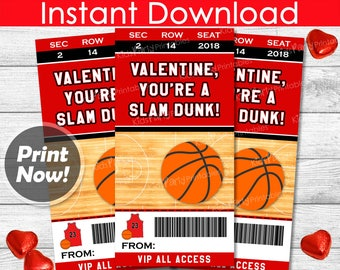 Basketball Valentines Day Cards, INSTANT DOWNLOAD Basketball Valentine Cards Printable Sports Valentines Kids Classroom Boy Valentine School