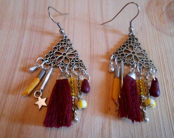 Earrings silver, plum and yellow