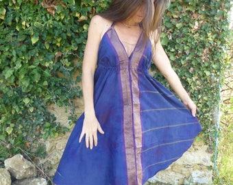 Ethnic short dress, tie dye, backless, cotton blue Indian sari, gold border, beach, summer