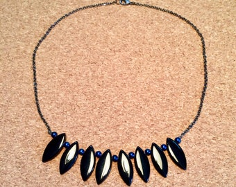 Black and Blue Silver Statement Necklace