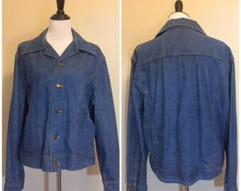Vintage 70s Lee Denim Jacket   1970s Wide Collar Denim Blue Jacket