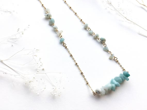 Ombre Amazonite and Gold Statement Necklace // Bridesmaid // Gifts for Her // Stocking Stuffer