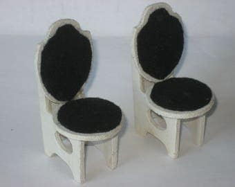 Dollhouse vintage wooden handmade chairs (2 items)