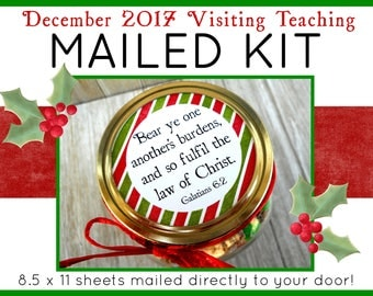 MAILED KIT - December 2017 Visiting Teaching, MAILED 8.5 x 11 sheets, Lds Relief Society