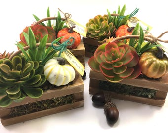 Choice mini wood crate basket faux handmade succulent arrangement Fall Autumn decor grateful thankful blessed or happy harvest