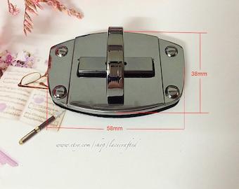 2sets 5.8x3.8m Gunmetal Purse Twist Lock Closure Oval Turn Lock Bag Fastener Bag Twist Lock Bag Turn Lock