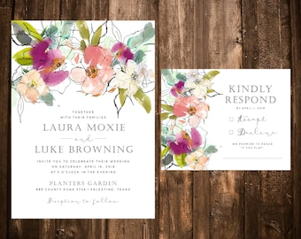 Watercolor Floral Illustrated Wedding Invitations; Modern; Chic; Printable OR set of 25