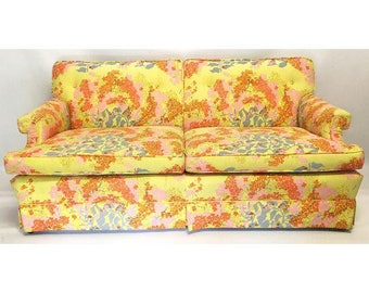 Vintage Dorothy Draper Hollywood Regency Floral Sofa