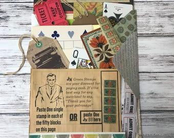 Junk Journal Kit,  Vintage Book Pages, Vintage Ephemera, Vintage Paper, Junk Journals, Vintage Papers, Cardstock, Craft Kits, Journal Kits