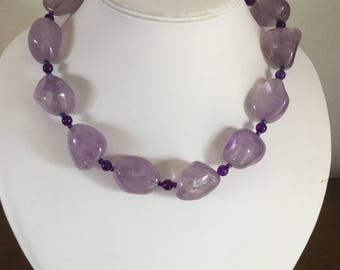 Handmade Big Bold Chunky Natural Amethyst Necklace