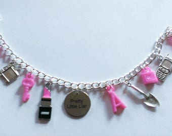 Hot Pink Pretty Little Liars Inspired Charm Bracelet