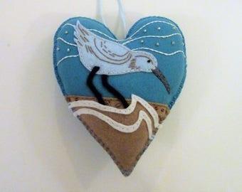 Sandpiper Ornament, Shore Bird, Bird Ornament, Felt Heart Ornament, Doorknob Hanger, Doorknob Pillow, Beach House Decor, Beach Decoration