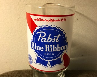 """Vntg PABST BLUE RIBBON 7"""" H 32 Oz Beer Glass w/Footed Base"""