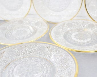 glass plates with gold rim set of 6 gold rimmed clear glass dinner plates
