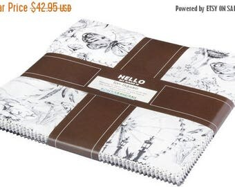 """Anniversary Sale Black and White~Cotton Fabric, Layer Cake 10"""" squares by Robert Kaufman, Fast Shipping, LC148"""