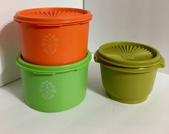 Vintage 3 Pieces Of Tupperware Canisters Orange
