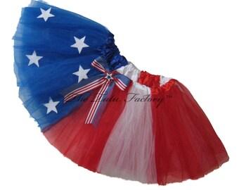 4th of July Tutu .  Infant . Toddler to 6X . Stars & Stripes Tutu . Detachable Bow