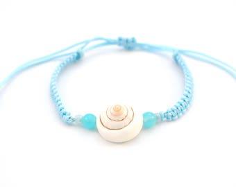 Blue bracelet with seashell, bracelet, Ibiza, beach, sea, shell, jewelry