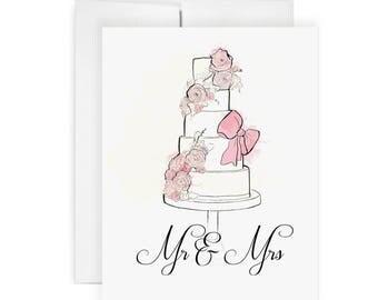 Mr & Mrs Cake -  Greeting Card, Fashion Illustration, Wedding Card, Cake Card, Show Card, Party Card, Art Card