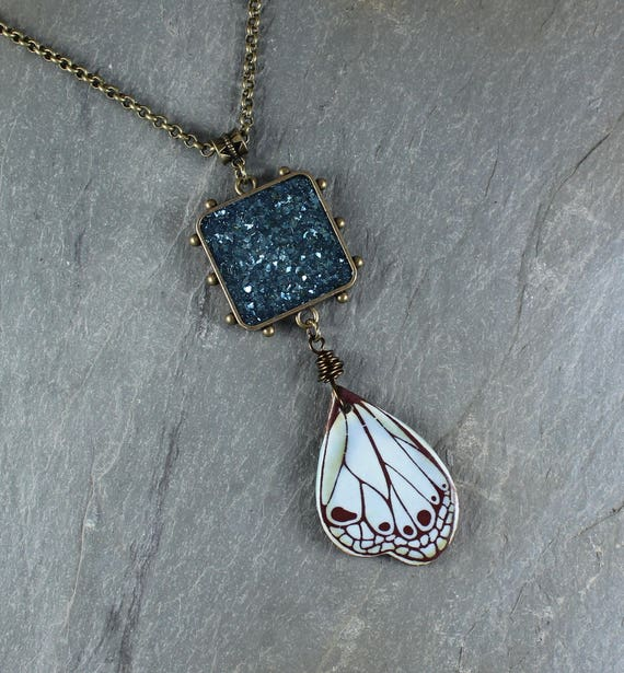 Bohemian Chic ~ Forest Fairy ~ Blue Sparkle pendant necklace with Ceramic Butterfly Wing