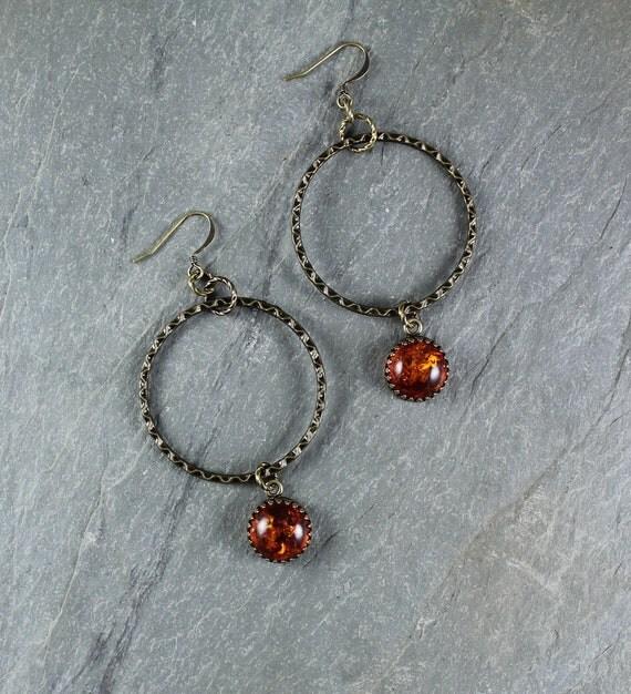 Amber hoop earring