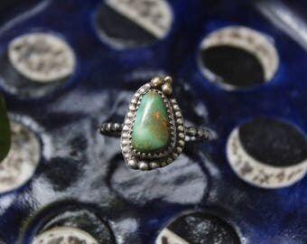 Sterling Silver Royston Turquoise Ring with Beaded Border and 18k Gold Accent, Handmade Mixed Metal Sterling Green Turquoise Ring Size 8