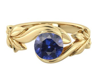 Blue Sapphire Engagement Ring 14K Yellow Gold Flower Leaves Leaf