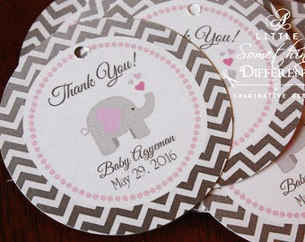 Elephant Baby Shower Favor Tags, Pink and Gray Chevron Elephant Tags, Gift Tags, Baby Shower, Birthday, Thank  You Tags