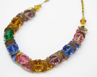 1950s Multi Colored Crystal and Gold Metal Chain Necklace