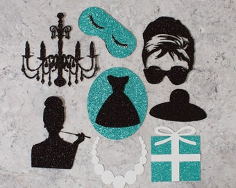Breakfast at Tiffanys themed cupcake toppers; Birthday Party; Bridal Shower; Baby Shower theme