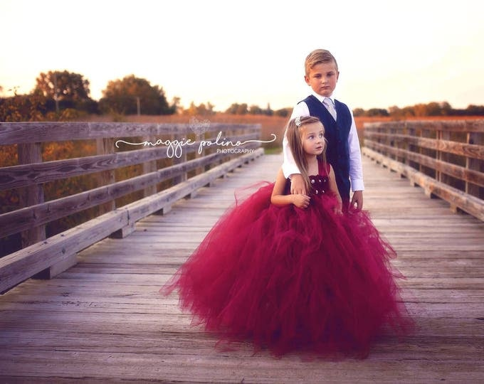 Featured listing image: Flower girl dress - Tulle flower girl dress - Wine Dress - Tulle dress-Infant/Toddler - Pageant dress - Wine Tulle dress - Wine flower dress